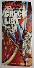 1972 Schwinn Care & Operation Check List Pamphlet-For 10 & 5 Speed Free USA Ship