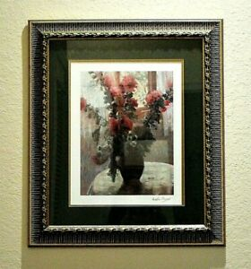 MARTHE ORANT French Painter Matted Framed Art Print Roses in a Vase Signed