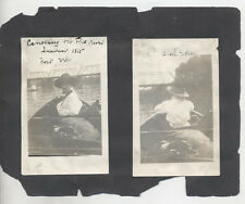 1915 PHOTOS OF WOMAN IN BOAT   LARGE TENT - SET OF THREE