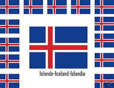 Assortiment lot de 25 autocollants sticker drapeau Islande-Iceland-Islandia