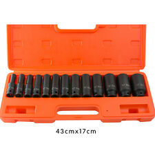 "13pcs 1/2"" Drive Deep Impact Socket Set METRIC (10-32mm)For Garage Workshop+ Box"