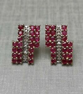 9CT Yellow Gold Natural Ruby & Diamond Earrings