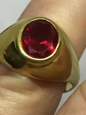 Vintage Gold On 925 Sterling Silver Faceted Oval Ruby Gents Mens Ring Size U