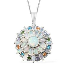 Opal Diopside Tanzanite Apatite Platinum Over Sterling Silver Pendant NEW Chain