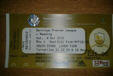 SWANSEA CITY V READING UNUSED TICKET 6TH OCTOBER 2012 PREMIER LEAGUE MINT
