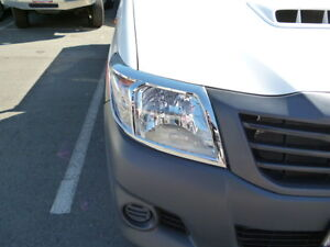 CHROME HEADLIGHT HEADLAMP COVERS FITS TOYOTA HILUX VIGO 2012 CURRENT MODEL