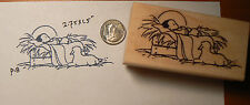 "P18 Baby Jesus and lamb rubber stamp-2.75x1.5"" WM"