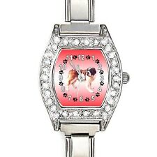 Saint Bernard Dog CZ Ladies Stainless Steel Italian Charms Wrist Watch BJ1127