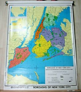 Vintage Rand McNally Pull Down Wall Map Boroughs of New York City Antique Art