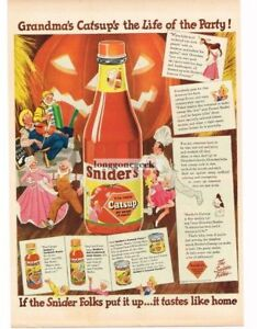 1944 Snider's Catsup Halloween Party Pumkin Jack-O-Lantern art Vintage Print Ad