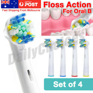 FLOSS ACTION Oral B Compatible Electric Toothbrush Replacement Brush Heads x4
