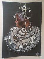 PAINTING ACRYLIC PORTRAIT AFRICAN WOMAN original SALE