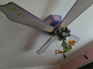 "DISNEY Tinkerbell Fairies flush mount CEILING FAN  42""  WITH LIGHT..."