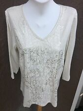 New Chico's Zenergy Stripe Foil Lace Insert Top Shirt Ecru Gold 3 = XL 16 18 NWT