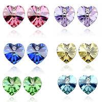 New Fashion Women Jewelry Crystal White Gold Plated Heart Love Earrings Ear Stud