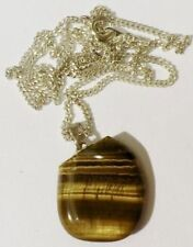 pendentif chaine bijou vintage pierre naturelle marron nacré poli * 4345