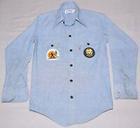 Vintage 70s Levis Orange Tab Western Shirt USA Vail Colorado Skiing Patch Sz 14