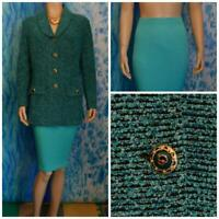 ST JOHN Collection Knits Teal Green Jacket Skirt L 12 10 2pc Suit Buttons Collar