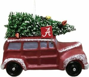 "Alabama Crimson Tide Van W/ Christmas Tree Resin Ornament 3.5"""