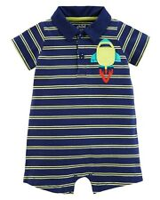 Baby Boy One Piece Blue Polo Romper