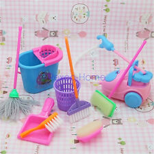 9 PCS Home Furniture Furnishing Cleaning Cleaner Kit For Barbie Doll House