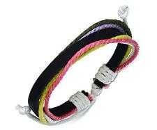 Unisex Leather Rope Bracelets Wrap Adjustable Bangle Fashion Pink Wristband