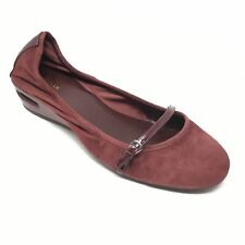 Women's Cole Haan Air Mary Jane Loafers Shoes Size 10B Burgundy Suede Wedge I1