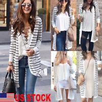 Women Long Sleeve Striped Loose Knitted Jumper Cardigan Outwear Jacket Tops Coat