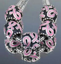 Pink Ribbon Breast Cancer Awareness European Charm Big Hole Bead