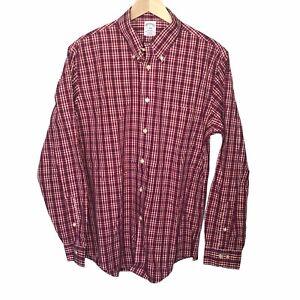 Brooks Brothers Mens Dress Shirt Red Plaid Button Down Regent Non Iron Sz Large