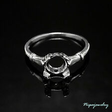 Ring Setting Sterling Silver 7mm.Round. Size 7