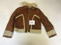 """AMBE Ladies Real Leather/Suede Brown Jacket  Pit/Pit 19"""" Length 20""""  (326)"""