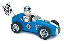 NEW PAPO Le Toy Van Budkins Wooden Blue Retro Racer with Driver 18cm