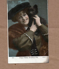 Edwardian Actress Miss Marie Studholme With dog Tinted card BR1