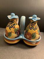 Dec A Mano Italy Deruta Oil & Vinegar Ceramic Crusts Hand Painted Made in Italy