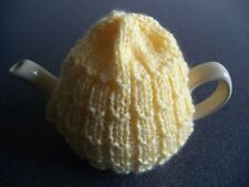 TEA COSY - HAND KNITTED & SUITABLE FOR SMALL 1 to 2 CUP TEAPOTS - LEMON