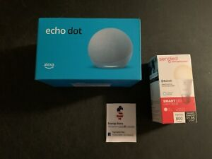 Amazon Echo Dot (4th Gen) Smart speaker + FREE Smart Bulb Twilight Blue Alexa