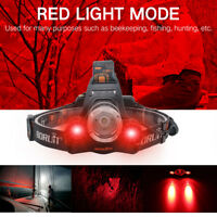 BORUiT 30000LM 3xXM-L T6+2R5 Red LED Rechargeable 18650 Headlamp Headlight Torch