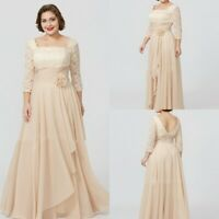 Plus Size Mother of the Bride Dress 3/4 Sleeve Lace Evening Gowns Formal Party