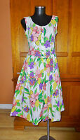 Vtg 80s Floral Print Cotton Open Back BOW Boho Garden Tea Party DRESS sz 7/8