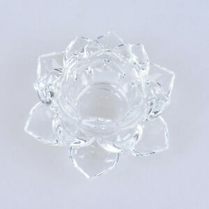 Crystal Lotus Flower Tealight Candlestick Candle Holder Home Wedding Decor Gift