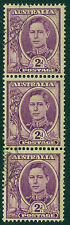 Edw1949Sell : Australia 1949 Sg #205b Coil Strip of 3. Vf, Used. Cat £120+
