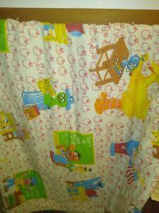 """Sesame Street Quilt, Blanket, Comforter, Yellow Fleece, Hand Made, 64""""x 88"""""""