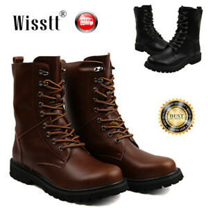 UK Mens Leather Water Boots Combat Lace Up Military Army Biker Ankle Shoes Size