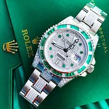 Rolex GMT Master II 2 116710LN Custom Emerald & Diamond set 2017 Unworn