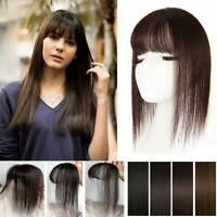 Women 3D Air Bang Fringe Clip in Remy Human Hair Topper Hairpiece Replacement