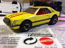 Hot Wheels 1980 Turbo Mustang Yellow bw Rims Hong Kong Base