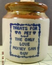 TREATS FOR A PET THE ONLY LOVE MONEY CAN BUY Brown Grey Glazed Stoneware Jar