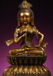 BUDDHA: Antique Tibetan White Tara, Gilt Bronze,1800s, Exquisite Patina, Unusual
