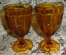 Amber pressed glass Goblets Lot of 2 Cable panels 6-1/4""